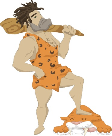 Illustration of a caveman with a club in his hands, at his feet lies the carcass of a lion killed