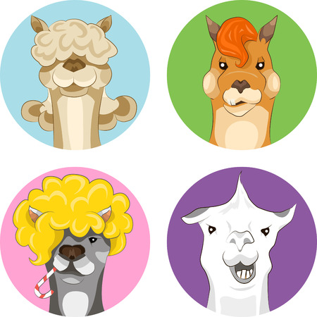 illustration set of funny colored lamas Illustration