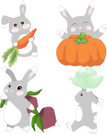 Set of illustrations cute rabbit with different vegetables