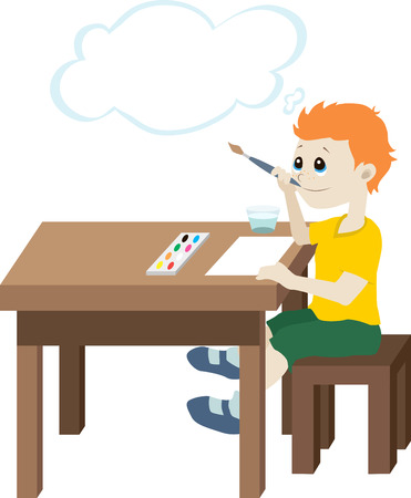 Illustration of a boy who is sitting at the table with a brush in his hand and thinks that he wants to draw