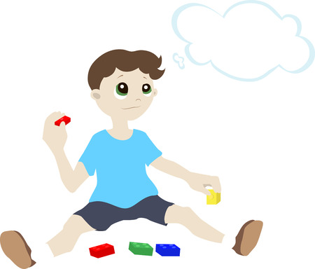 Illustration of a boy who is sitting on the floor with the designer and thinks that he wants to build