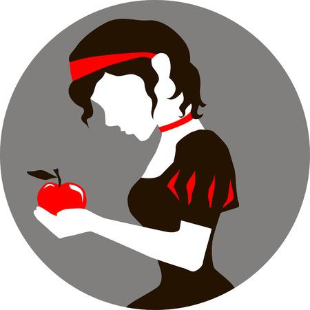 Ilustración de Blancanieves con una manzana en las manos
