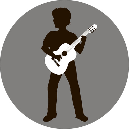 Illustration of a silhouette of a man with guitar in hand