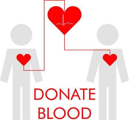 transfusion: Illustration with the image of a blood transfusion through a big heart Illustration