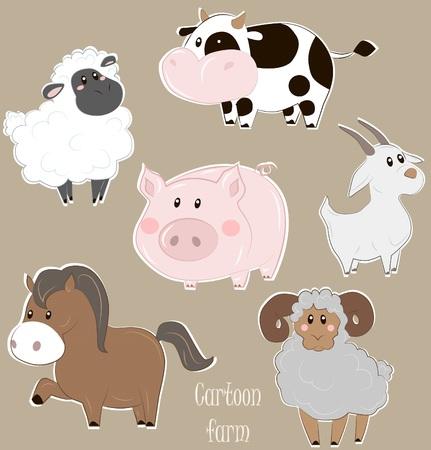 cabras: Ilustraci�n vectorial de vacas, cerdos, ovejas, ovejas, cabras y caballos en estilo de dibujos animados