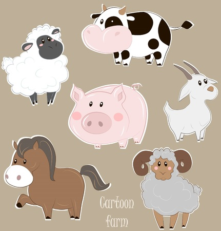 Vector illustration of cows, pigs, sheep, sheep, goats and horses in cartoon style Illustration