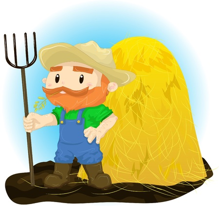 hay field: Illustration of a farmer with a pitchfork in his hand against the background of haystacks Illustration