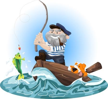 un p�cheur: Illustration d'un p�cheur dans un bateau