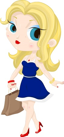 Illustration of a pretty girl who goes out with a new boutique shopping