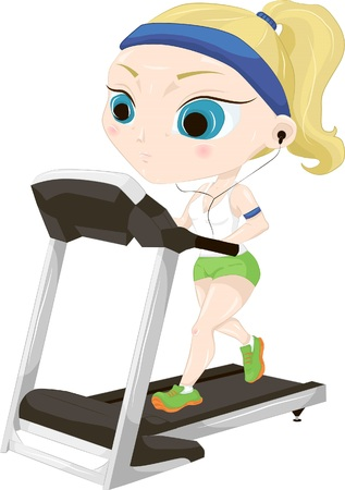 Illustration of a girl who is training on a treadmill