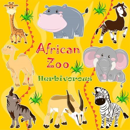 A set of illustrations of herbivorous animals living in Africa.