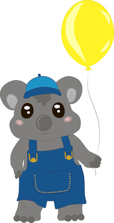 Vector illustration of a baby koala in pants a cap and a balloon