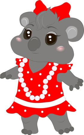 Vector illustration of a baby koala in a dress Illustration