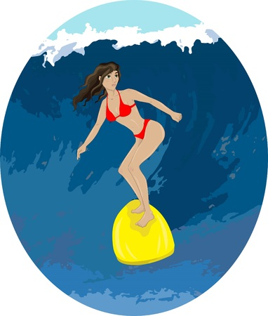 Illustration of a girl in a swimsuit on a surfboard riding a wave