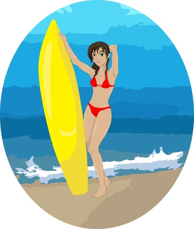 Illustration of a girl in a bathing suit with a surfboard standing on the background of the sea Illustration