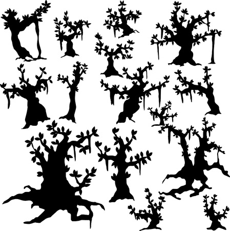 Set of vector silhouettes of trees - banyan