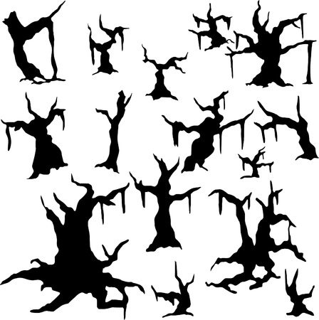 Set of vector silhouettes of dried trees - banyan