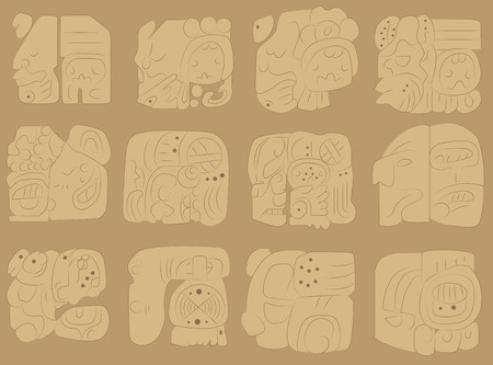 fresco: Set of vector stone frescoes in the ancient style of the Maya