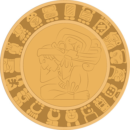 Vector ornamental stone mural in the style of ancient Maya Illusztráció