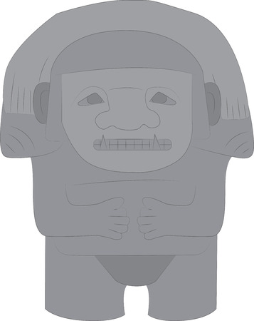 Vector illustration of a stone totem in the style of the ancient Maya