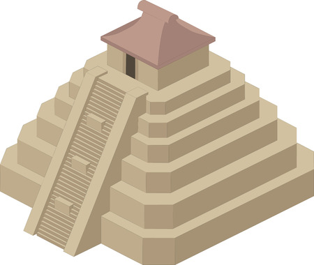 Vector illustration of a pyramid style of the ancient Maya