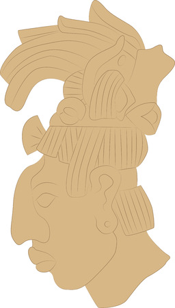 Pattern, fresco in the form of a mans head in the style of the ancient Maya