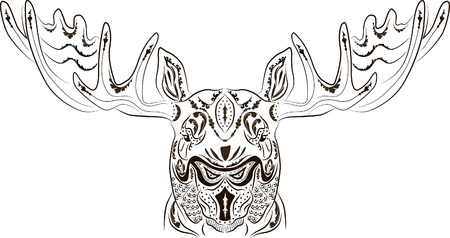 Vector illustration pattern tattoo in the form of a moose
