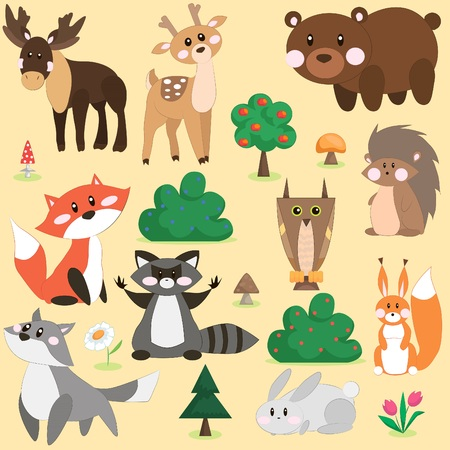 appletree: Vector illustration set of cute forest animals in cartoon style