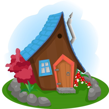 Vector illustration of a small house from a fairy tale Illustration