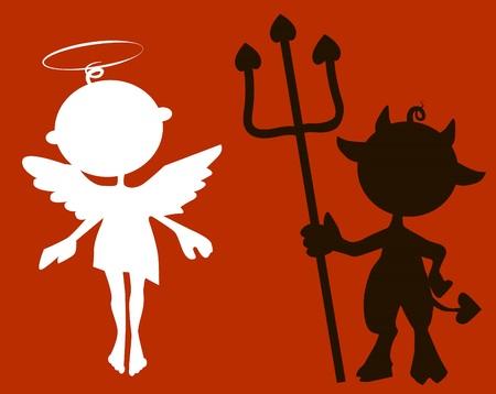 cute angel: silhouette cute little Devil and Angel Illustration