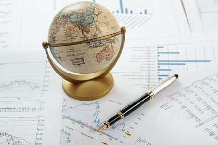 Charts, diagrams, tables. Business desktop. photo