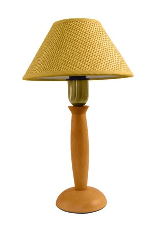 isolated reading lamp with woven abat-jour (shade) photo