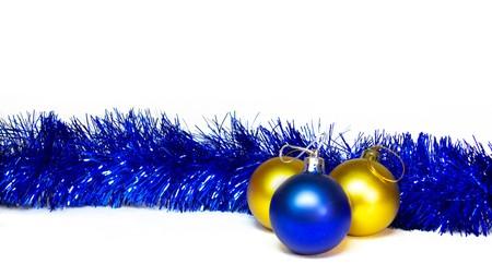 Xmas blue and golden decoration on white background photo