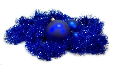 Blue christmas decorations isolated photo