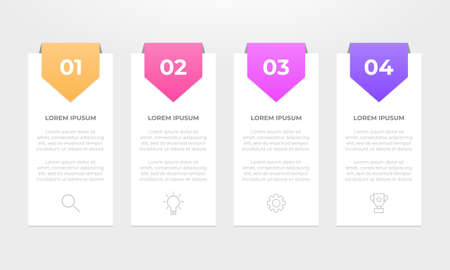 Colourful infographic steps with text boxes. Business concept with 4 steps.