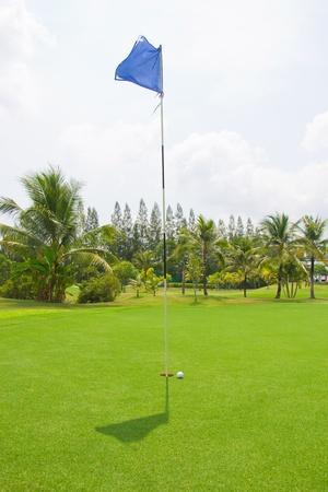 golf drapeau: Balle de golf avec trou