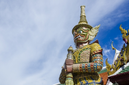 Giant Wat Phra Kaew Temple in bangkok thailand photo