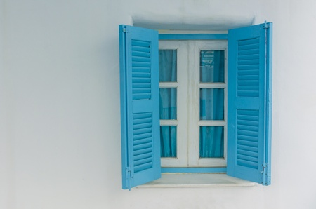 Traditional window in Santorini photo