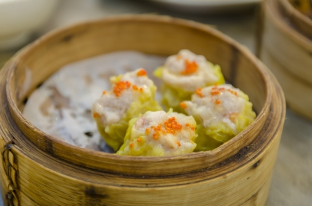 Chinese Streamed Dumpling in Bamboo Basket photo