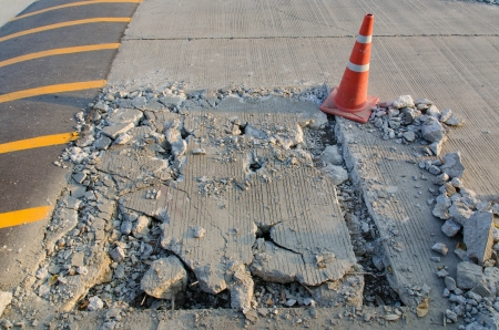 pothole and road surface repairing works Stock Photo