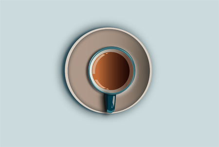 A cup of coffee on a blue background
