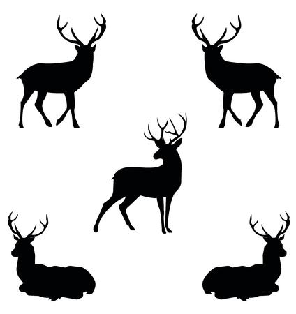 Cinco ciervos negros de contorno en el perfil