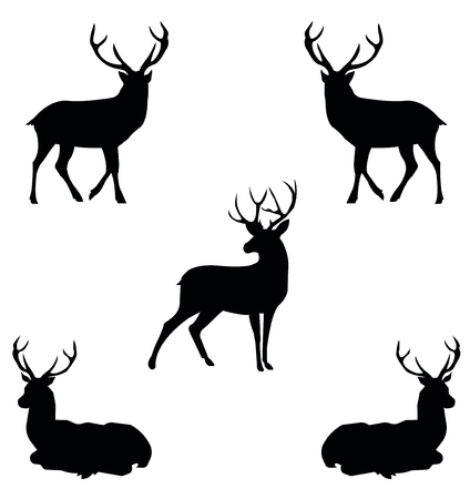 five contour black deer in profile