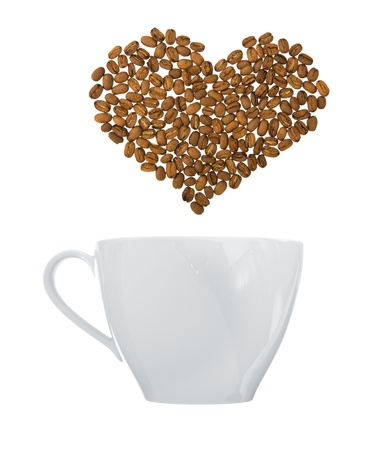 coffee art - coffee cup with heart-shaped steam made of coffee beans; isolated on white background;