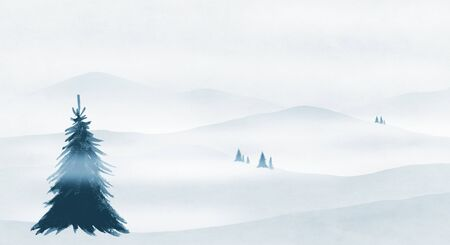 Christmas tree on snowy hills photo
