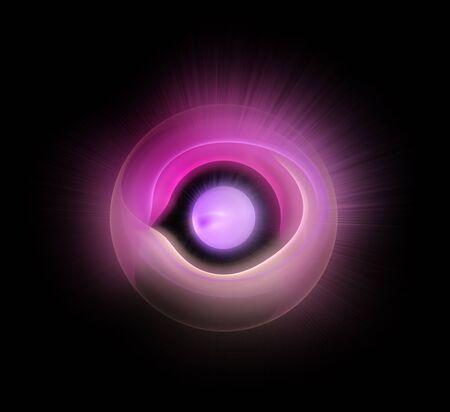 omnipresent: shining eye fractal on black background Stock Photo