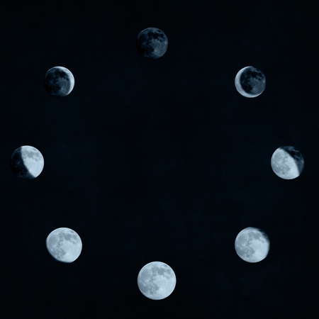 moon phases collage arranged in a circle