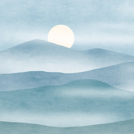 simple abstraction of full moon rising in mountains Stock Photo