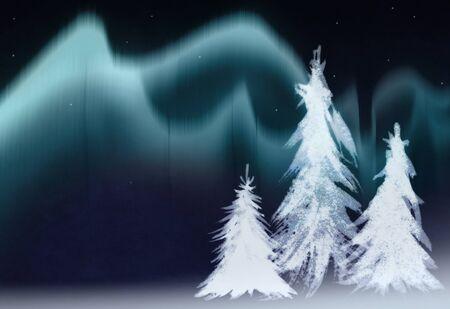 aurora borealis ,fir trees collage Stock Photo - 10501839