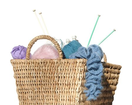stash: overflowing knitters basket, isolated on white ball, colorful, crochet, fashion, knitting, skein, stash, thread, white, wool, yarn, needle, hobby, craft, traditional, home, ruffle, knitted, unusual, pale, pastel,wickerwork, wicker, copy-space